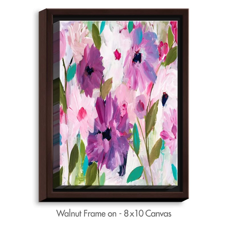 Blossoming Flowers by Carrie Schmitt Painting Print on Wrapped Framed Canvas Size: 25.75 H x 19.75 W x 1.75 D Frame Color: Walnut