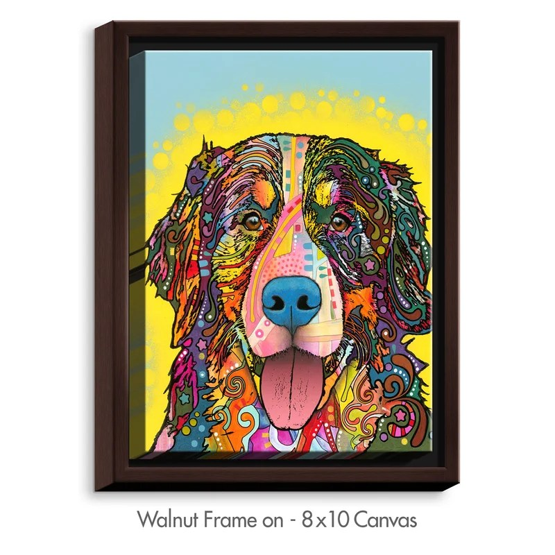 Bernese Mountain Dog by Dean Russo Graphic Art on Wrapped Framed Canvas Size: 37.75 H x 25.75 W x 1.75 D Frame Color: Walnut