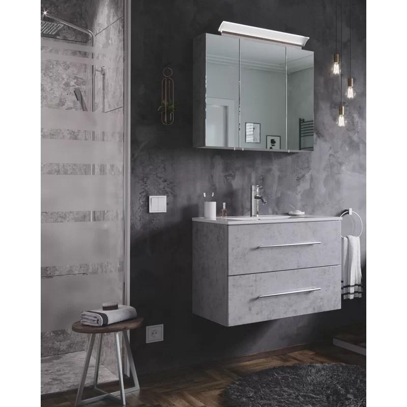 Wade Logan Wingil 2 Piece Bathroom Furniture Suite With Led Mirror Wayfair Co Uk