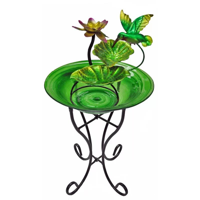 Glass/Metal Decorative Fountain Bowl Stand Color: Green