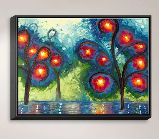Hearts Afire by Jessilyn Park Painting Print on Wrapped Framed Canvas Size: 12.75 H x 15.75 W x 1.75 D Frame Color: Black