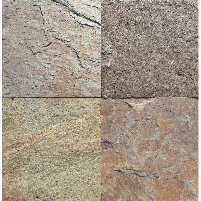 golden natural cleft face gauged back 16x16 slate field tile