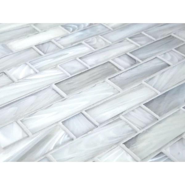 antartic vidin random sized white glass mosaic tile