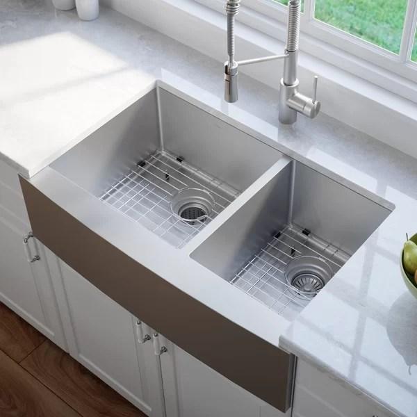 kitchen sink rack 5 piece table set orren ellis yokoyama 33 x 21 double basin flush mount with basket strainer and dish towel reviews wayfair