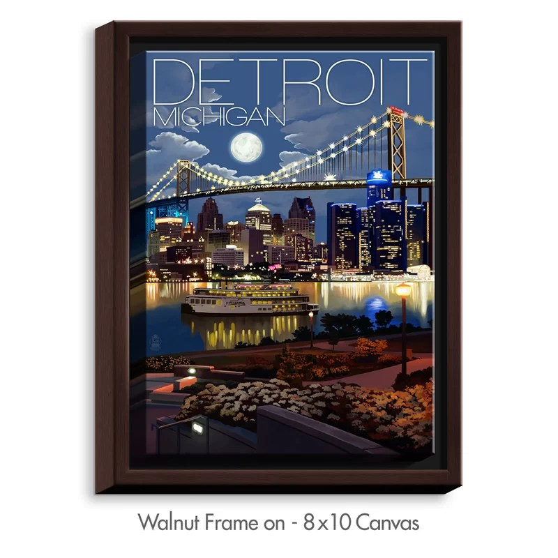 Detroit Michigan Skyline by Lantern Press Painting Print on Wrapped Framed Canvas Size: 15.75 H x 12.75 W x 1.75 D Frame Color: Walnut