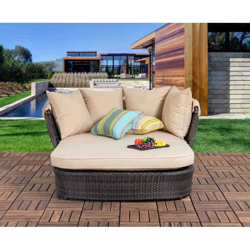 tolbert 60 63 wide outdoor wicker patio daybed with cushions