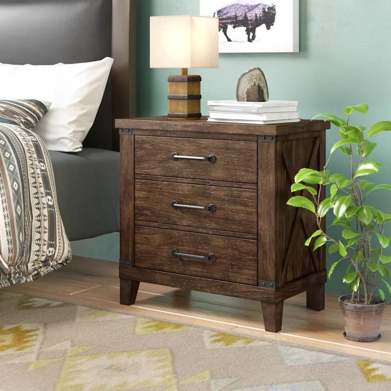 daramanivong 3 drawer nightstand in dark walnut