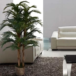 living room tree simple white of life decor wayfair tall high end realistic silk floor palm in planter
