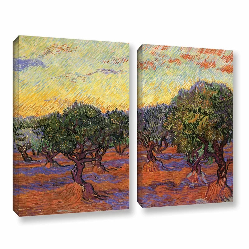 Olive Grove with Orange Sky by Vincent Van Gogh 2 Piece Painting Print on Wrapped Canvas Set Size: 24 H x 32 W x 2 D