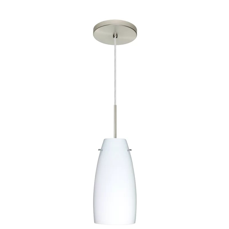Tao 1-Light Cone Pendant Finish: Satin Nickel Glass Shade: Opal Matte Bulb Type: LED