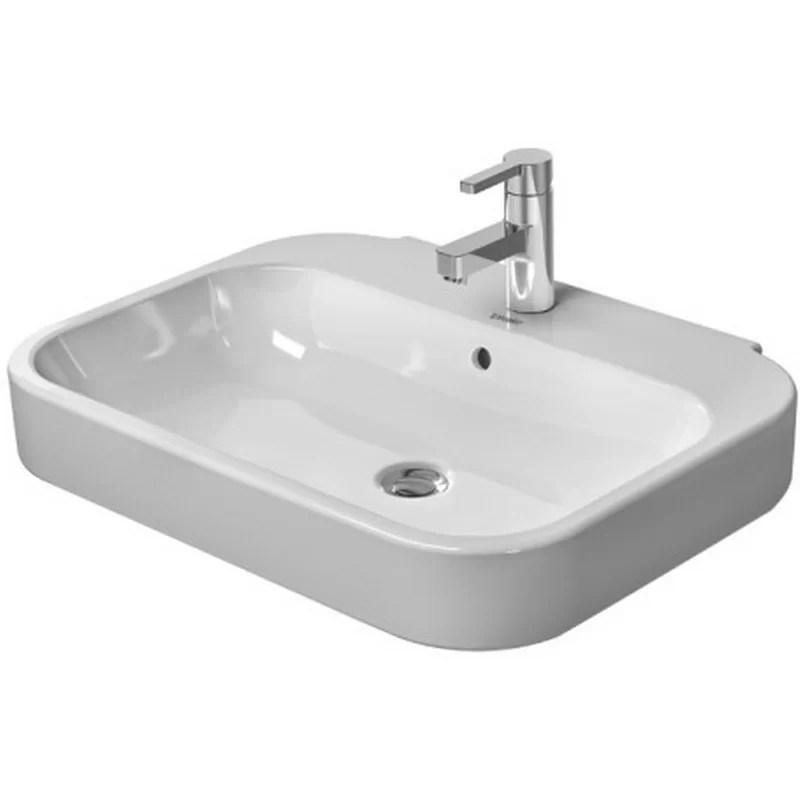 Happy D. Ceramic Rectangular Bathroom Sink with Overflow