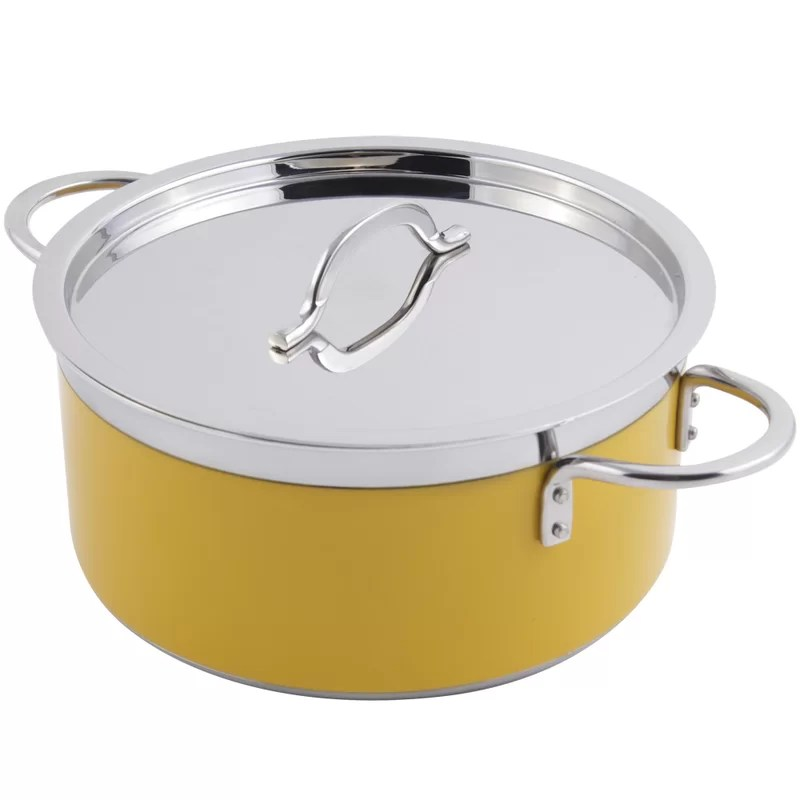 Classic Country French Soup Pot with Lid Size: 1.7-qt. Color: Orange