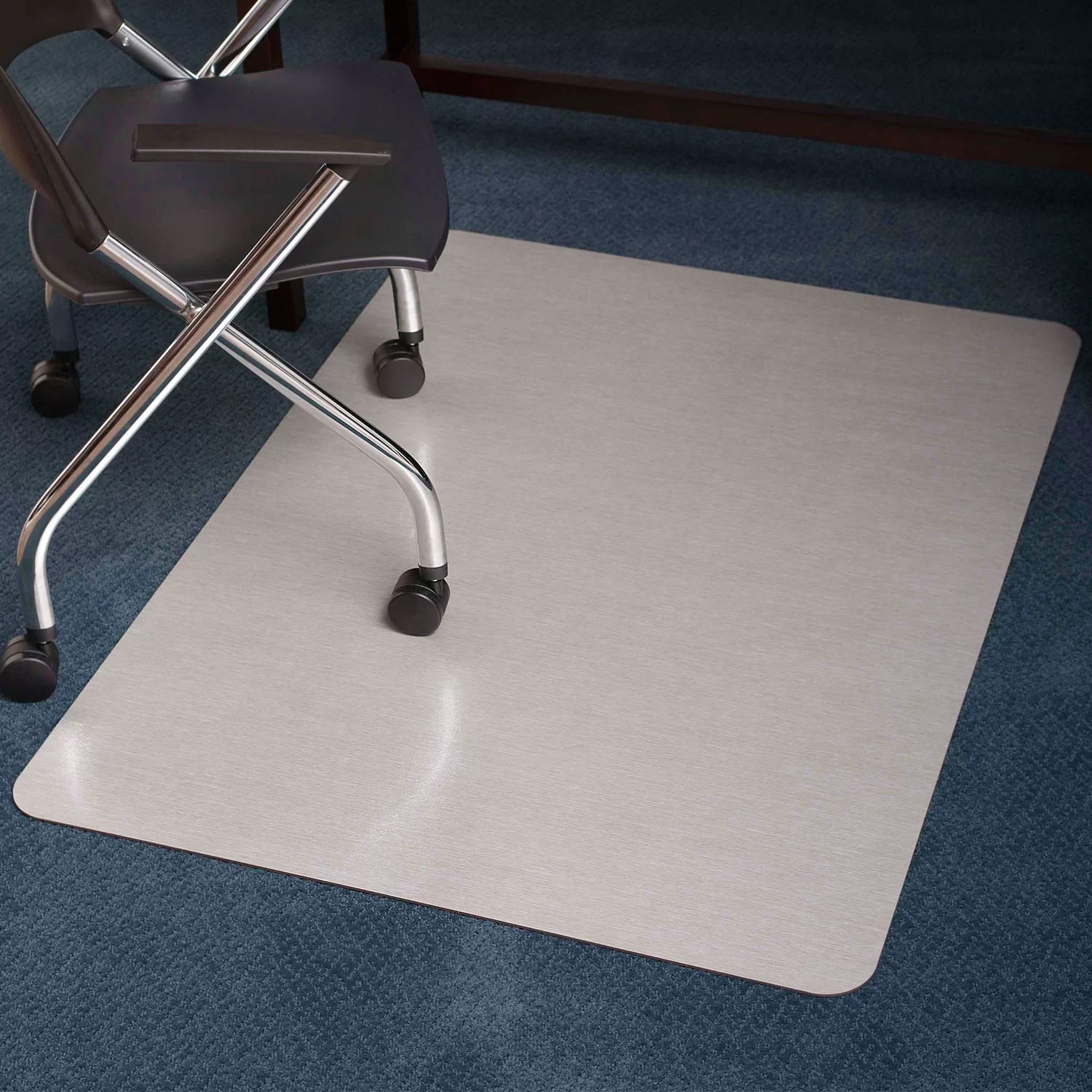 Es Robbins Chair Mat Brushed Stainless Design Chair Mat