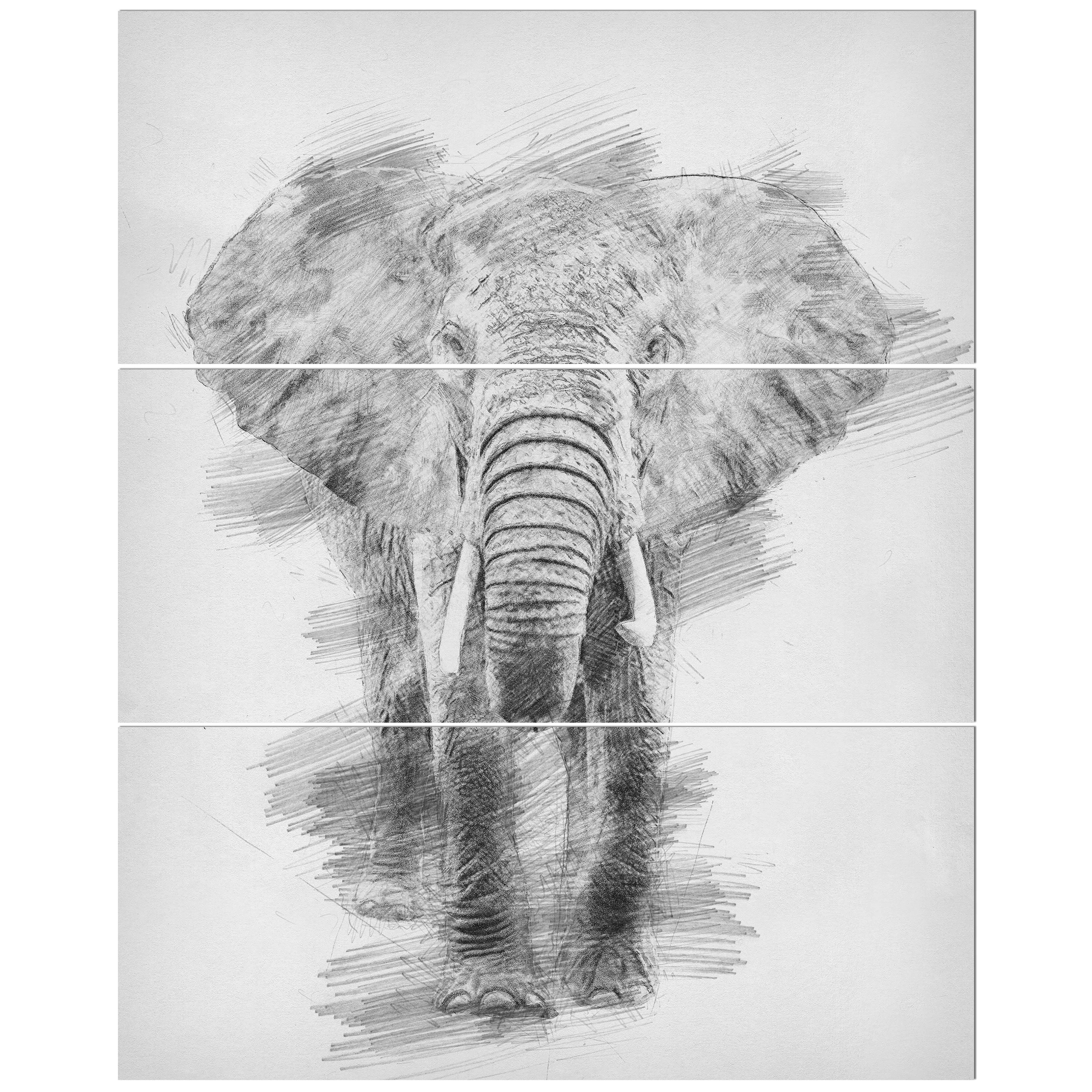 East Urban Home Black And White Elephant Pencil Sketch Drawing Print Multi Piece Image On Wrapped Canvas Wayfair