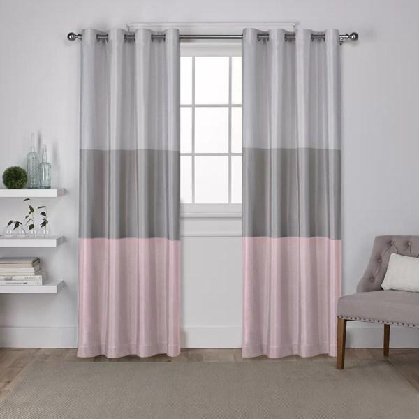 Latitude Run Newton Striped Semi-Sheer Grommet Curtain ...