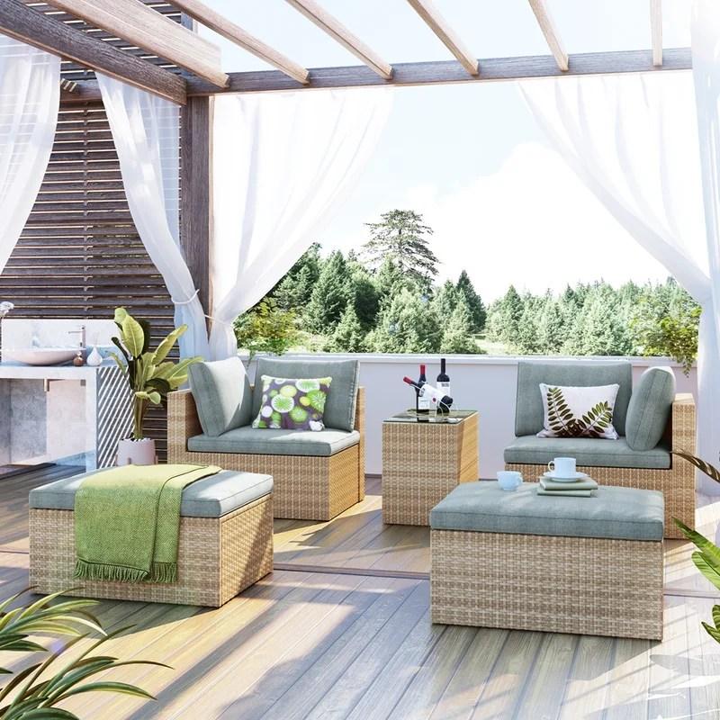 outdoor patio furniture set 5 piece wicker rattan sectional sofa set