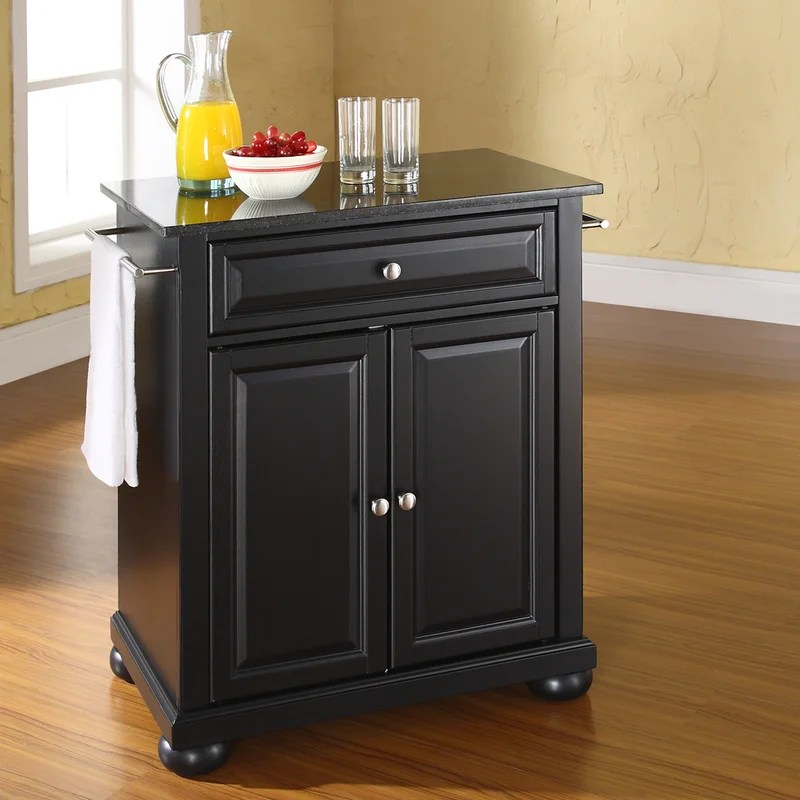 Darby Home Co Pottstown Solid Black Granite Top Portable Kitchen