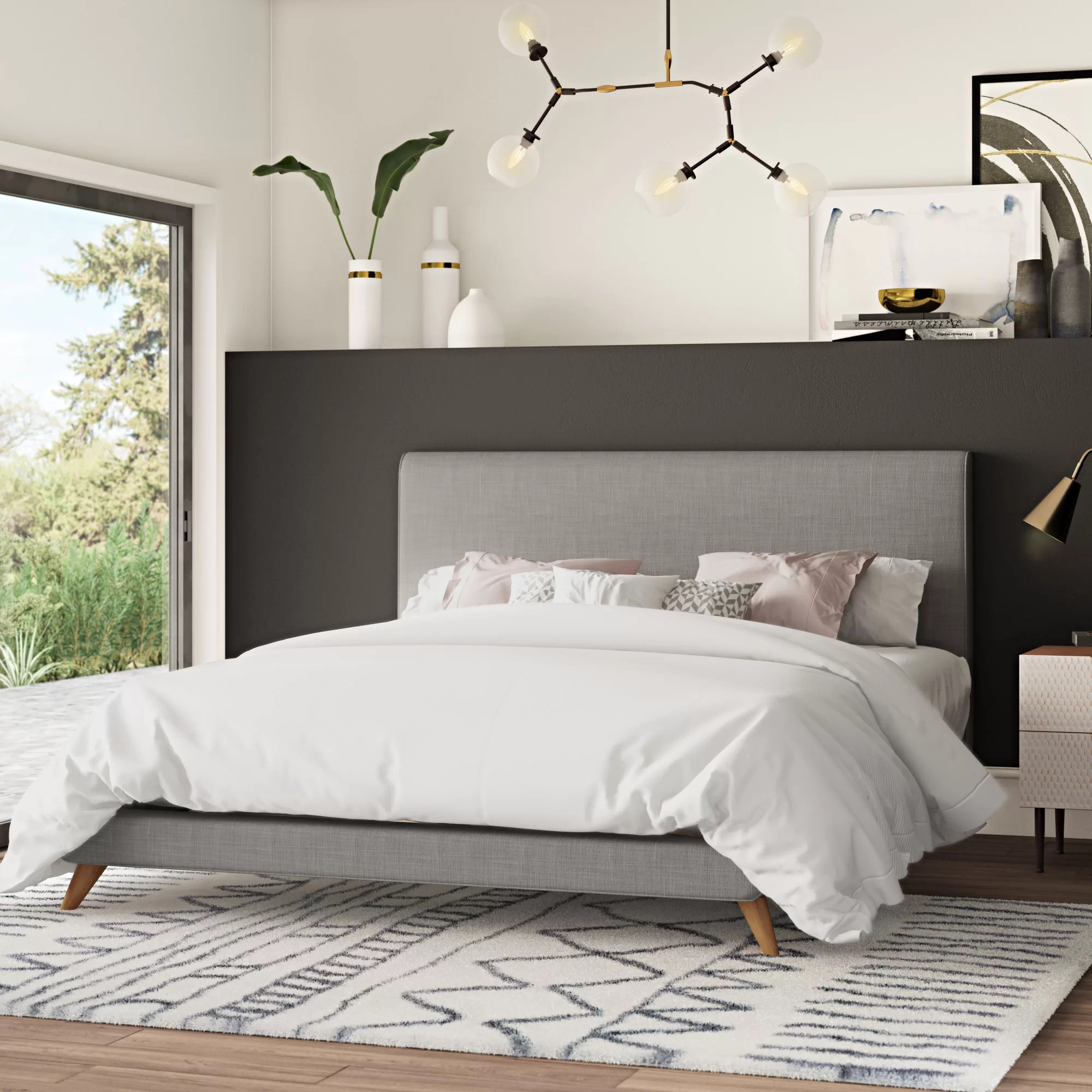 valle upholstered low profile platform bed