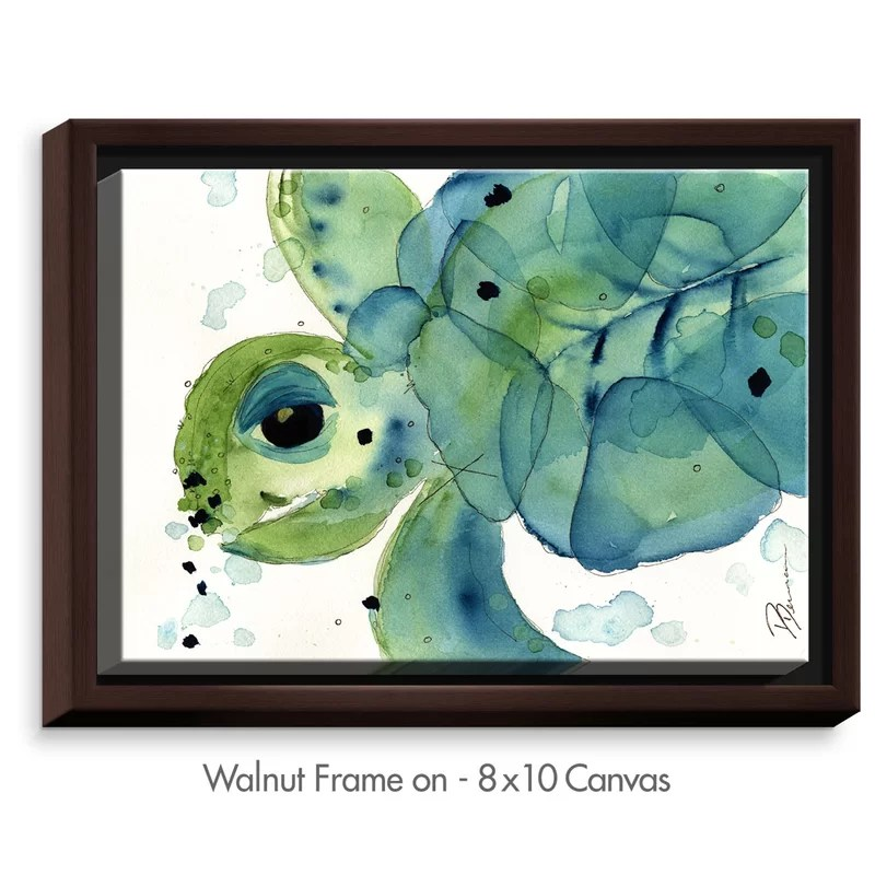 Sea Turtle by Dawn Derman Painting Print on Wrapped Framed Canvas Size: 12.75 H x 15.75 W x 1.75 D Frame Color: Walnut