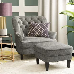 gray accent chair with ottoman natural gas fire pit table and chairs grey you ll love wayfair quickview