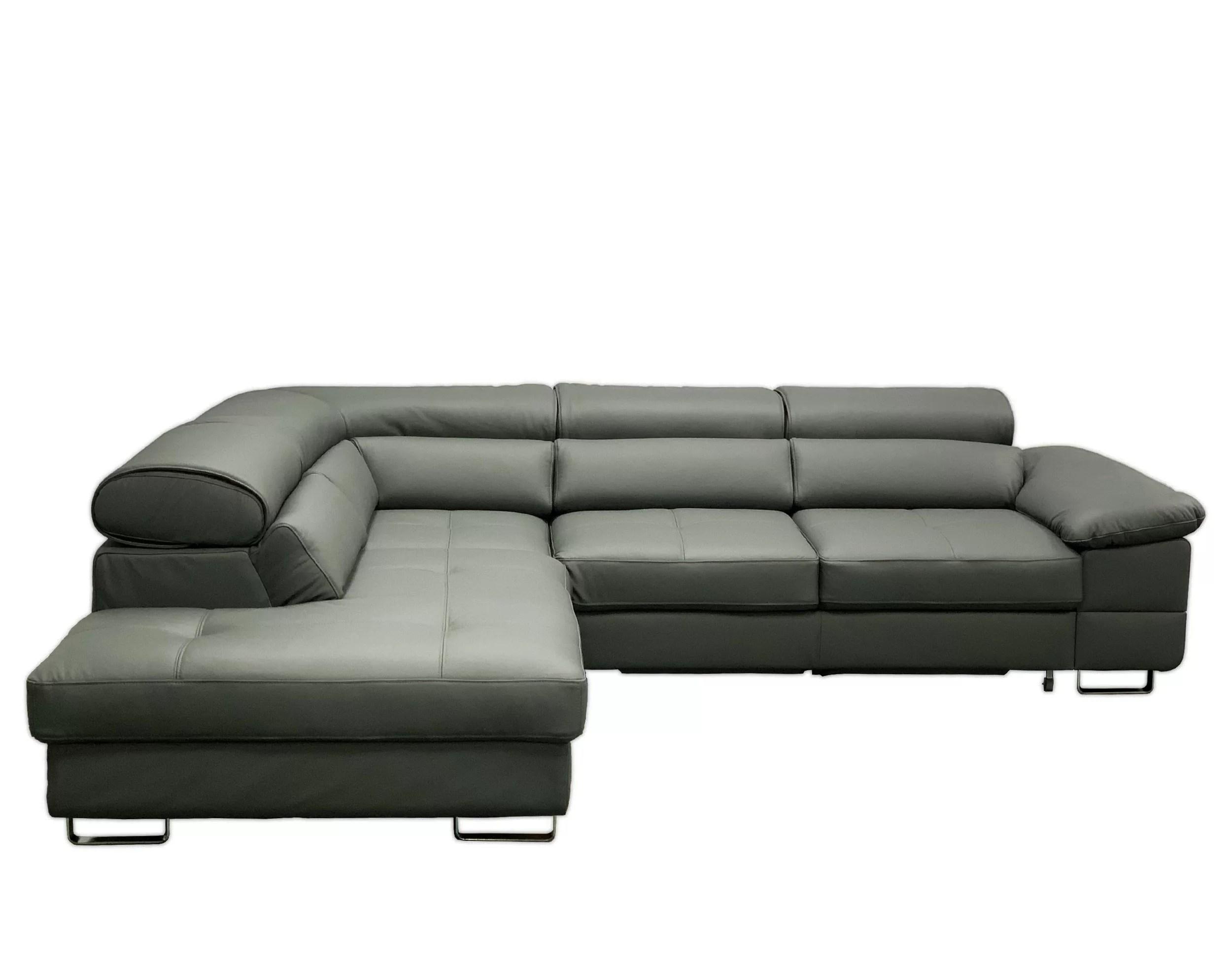 Orren Ellis Teillon 112 Genuine Leather Sleeper Sofa Chaise Wayfair