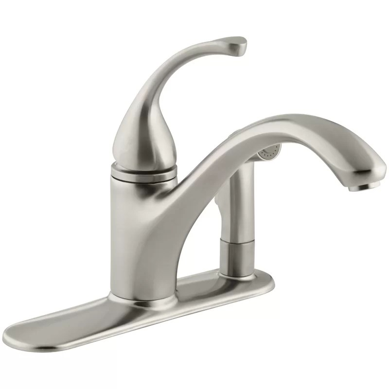 forte 3 hole kitchen sink faucet with 9 1 16 spout with matching finish sidespray in escutcheon