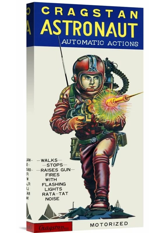 Cragstan Astronaut Automatic Actions by Retrobot Vintage Advertisement on Wrapped Canvas
