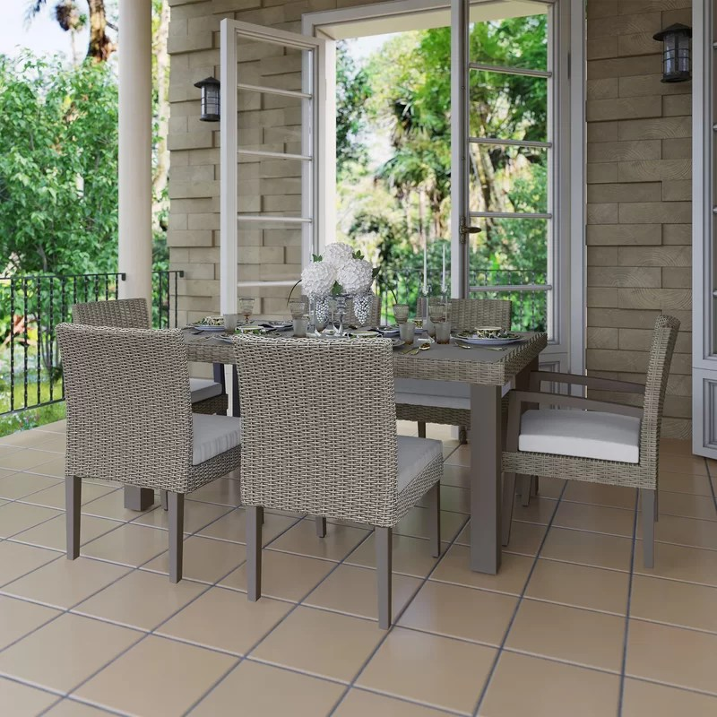 rectangular 6 person 66 94 long dining set with cushions