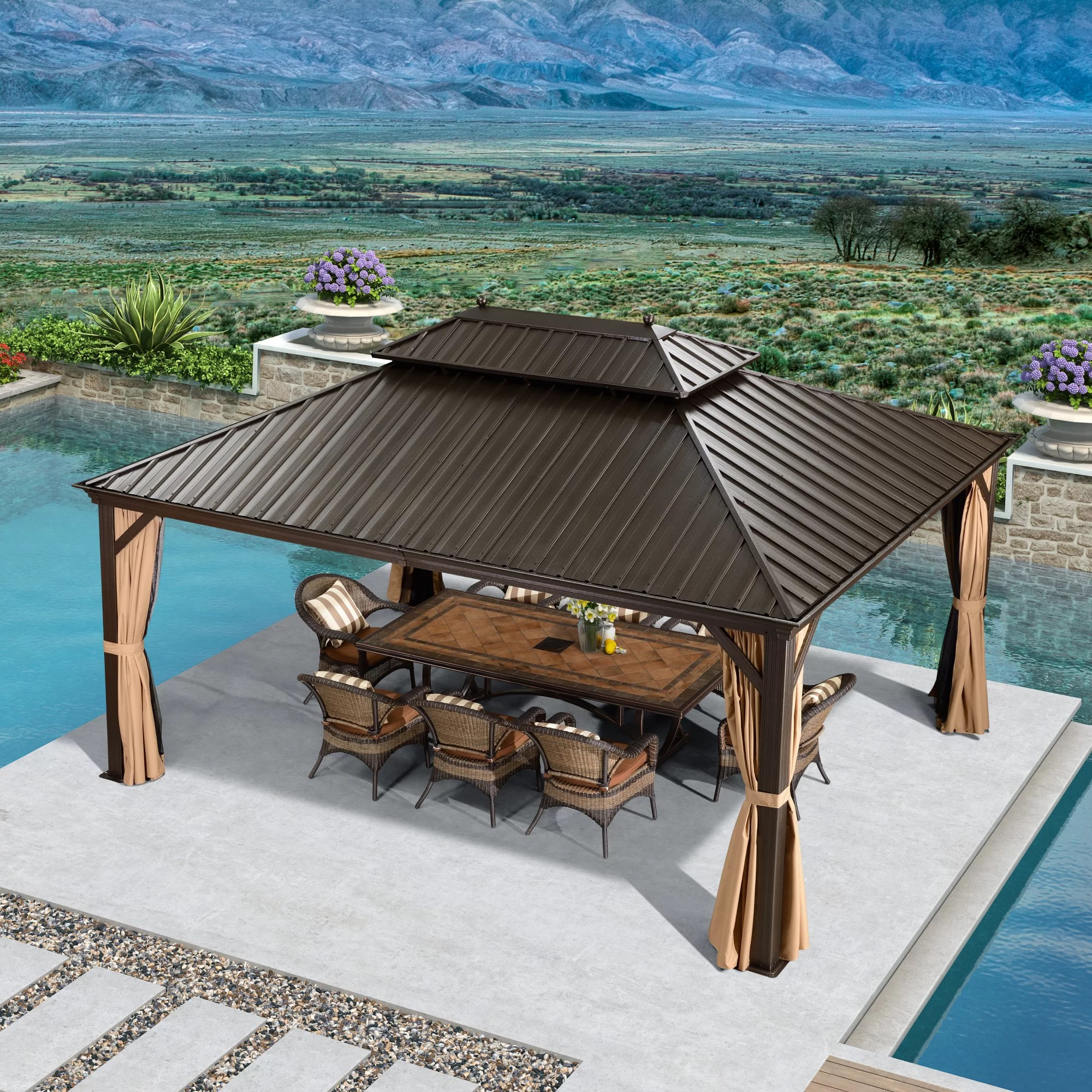 16 ft w x 12 ft d aluminum patio gazebo