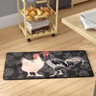 rooster kitchen rug double glazed doors mat wayfair cathie black