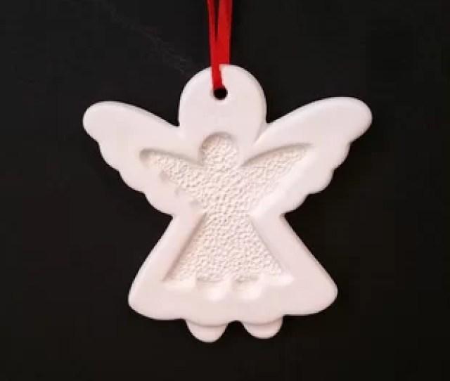 Christmas Ceramic Angel Ornament Hanging Figurine Set Of