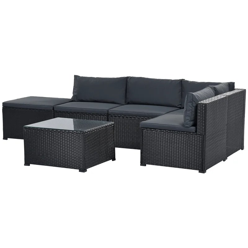 6 piece outdoor furniture set with pe rattan wicker patio garden sectional sofa chair removable cushions black wicker grey cushion