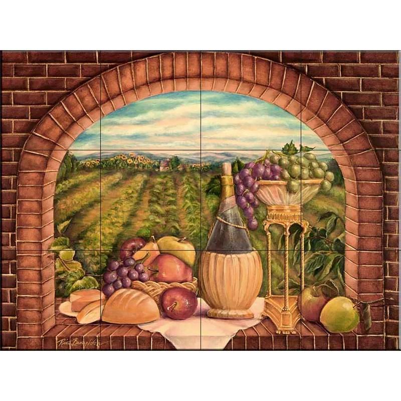 18 x 24 ceramic tuscan wine decorative mural tile in orange
