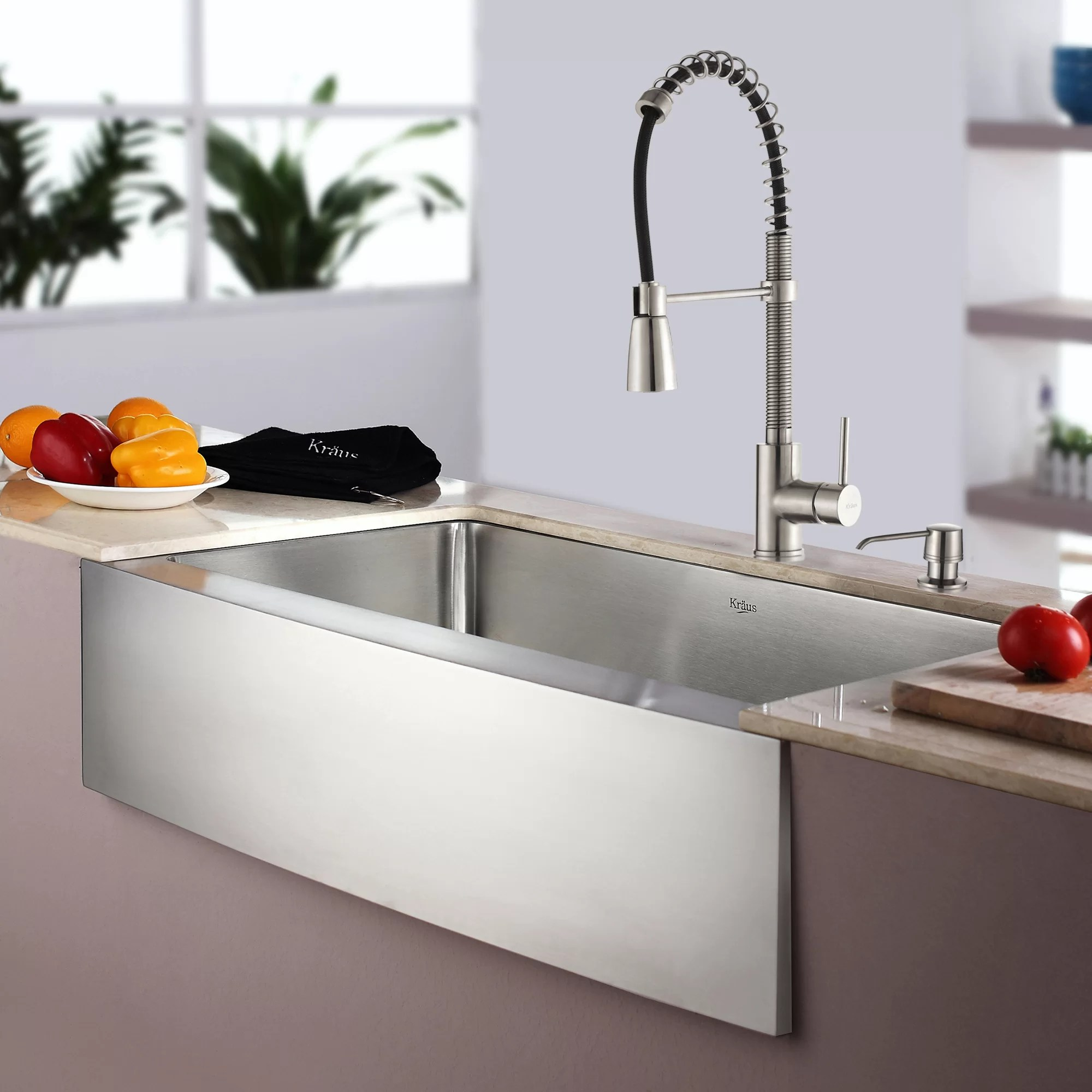 kitchen sinks and faucets rochester remodeling kraus combos 33 l x 21 w single basin farmhouse apron sink with faucet reviews wayfair ca