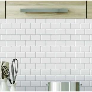 kitchen mosaic knives backsplash tiles for wayfair ca 12 x pvc peel stick tile in white