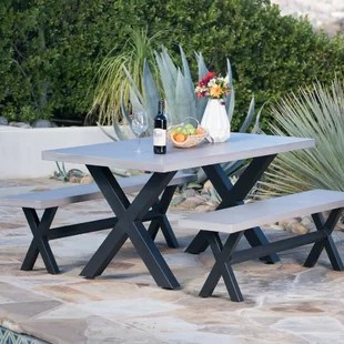 3 piece outdoor table and chairs chair glides for sale stone mosaic furniture birch lane warlick light weight concrete picnic dining set