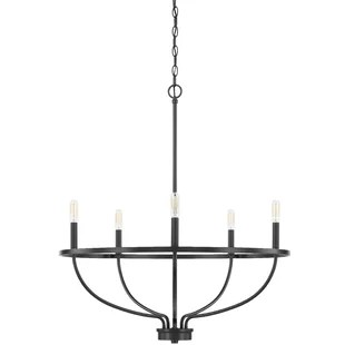 babson 5 light candle style wagon wheel chandelier