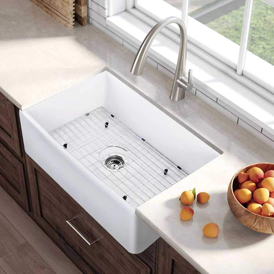 32 l x 21 w farmhouse kitchen sink with basket strainer