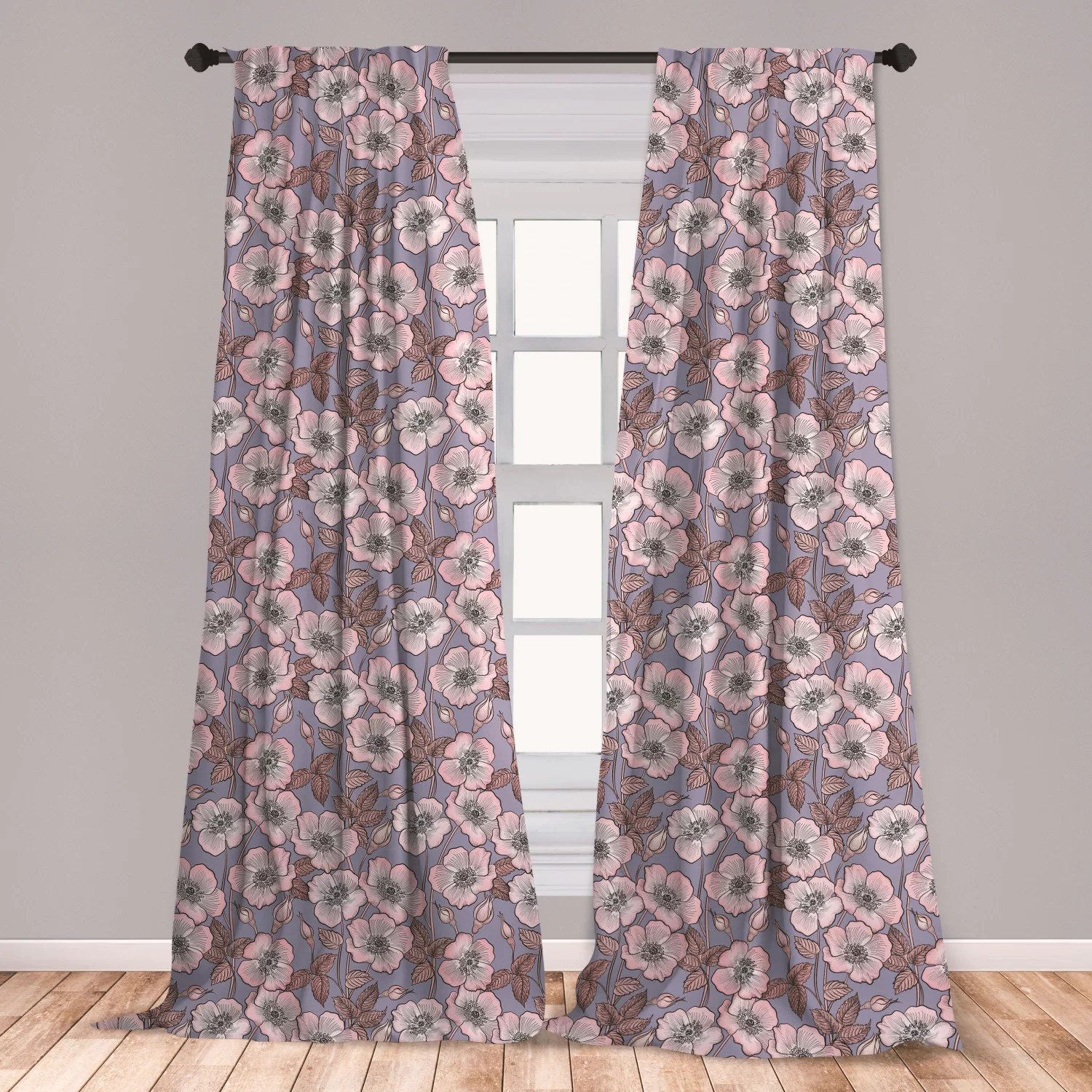 ambesonne vintage curtains graceful nature theme bedding plant poppies buds with look french garden window treatments 2 panel set for living room