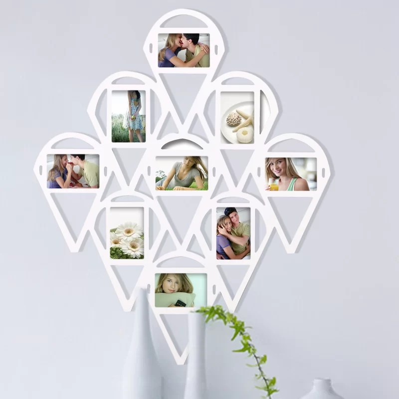 9 Opening Decorative Water Droplet Wall Hanging Collage Picture Frame Color: White