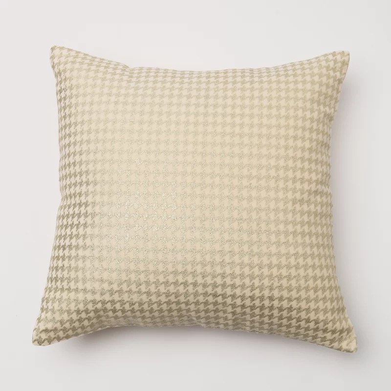 Houndstooth Throw Pillow Cover Color: Cream