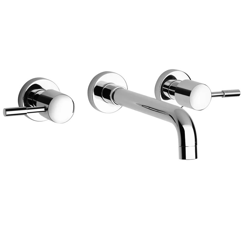 j16 bath series two handle wall mount bathroom faucet with controls and spout