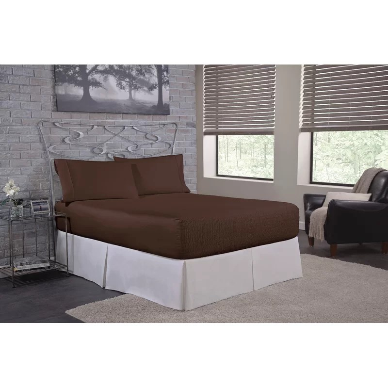 Solid 300 Thread Count Deep-Pocket 100% Cotton Sateen Sheet Set Size: Twin Color: Chocolate