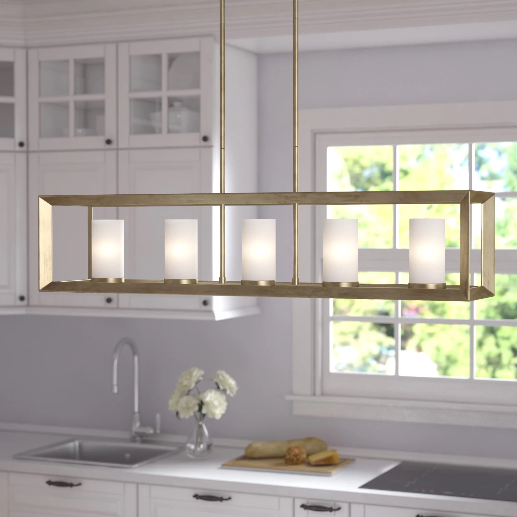 Three Posts Laurent 5 Light Kitchen Island Linear Pendant Reviews Wayfair
