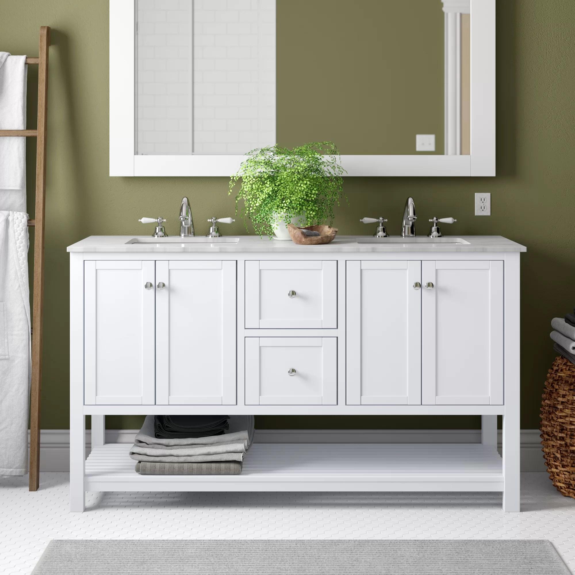 Eagleton Open Cabinet 60 Double Bathroom Vanity Set Reviews Birch Lane