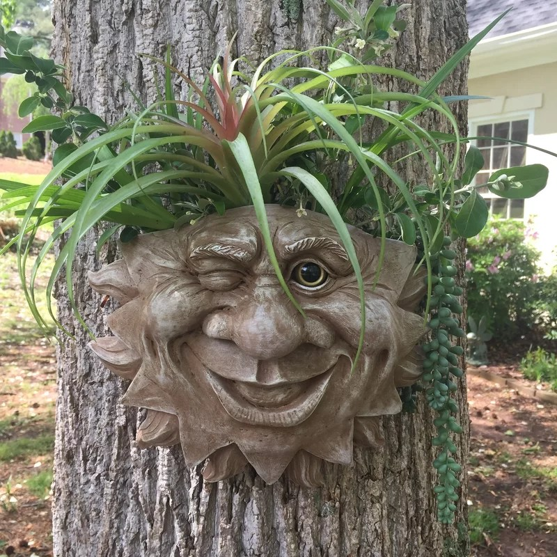 muggly s the face mr sun shine muggly tree patio resin statue planter