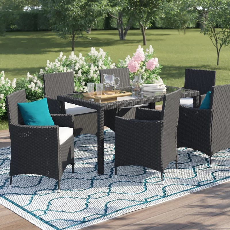 bridgette rectangular 6 person 57 long dining set with cushions