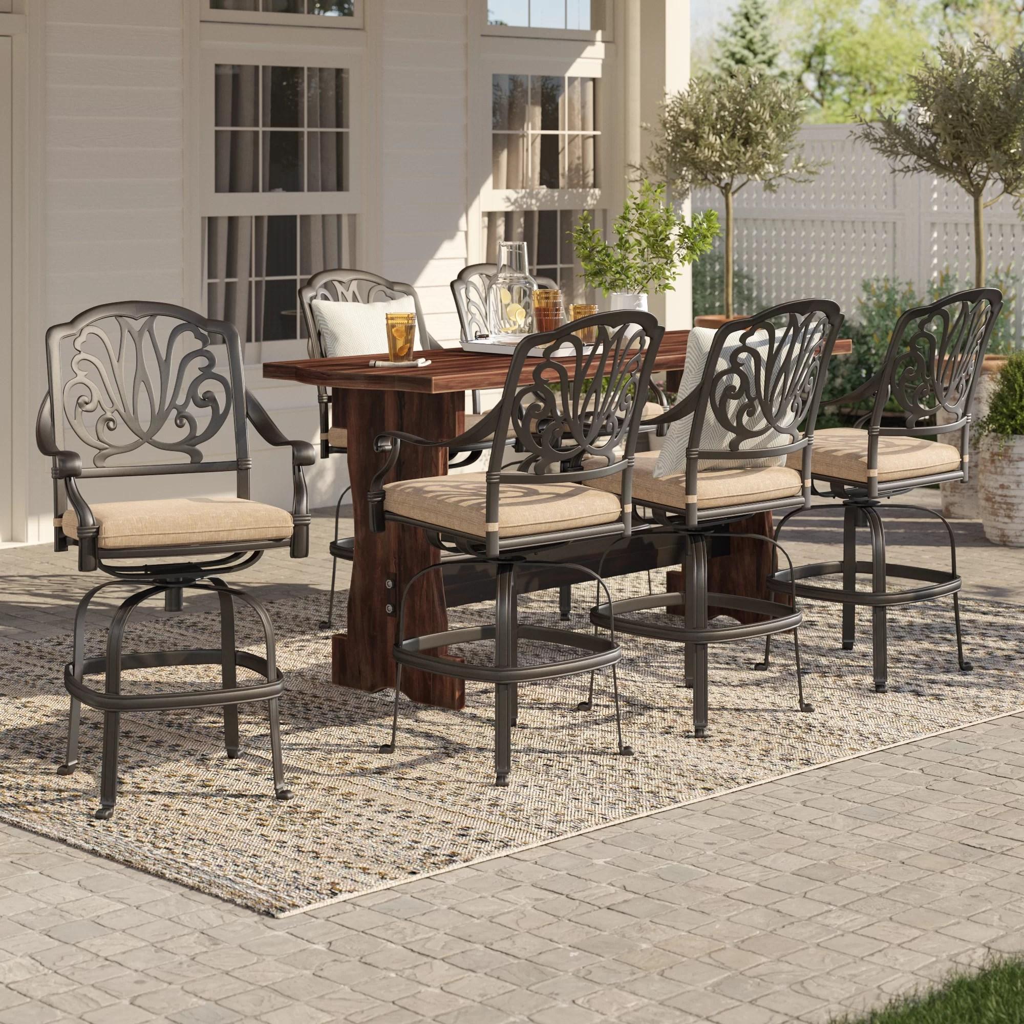lebanon swivel 29 patio bar stool with cushion