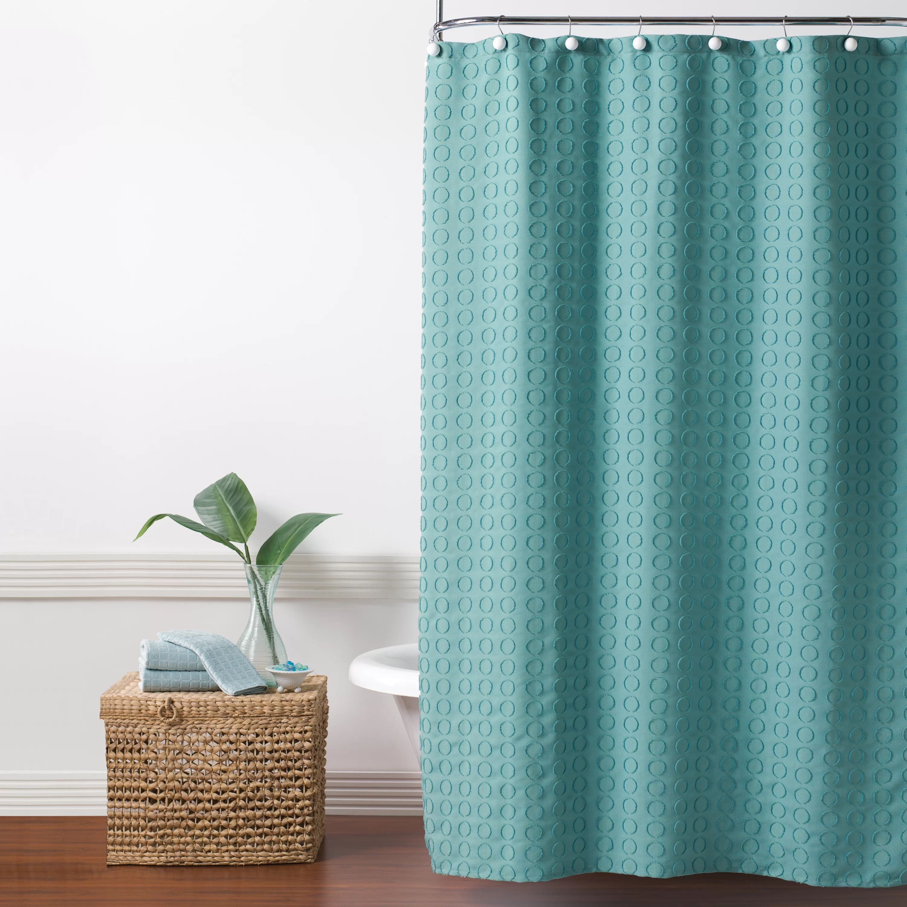 hertel clipped circle fabric single shower curtain