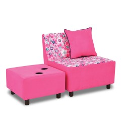 Pink Kids Chair Grey Velvet Covers Kangaroo Trading Company Tween And Ottoman With Cup Holder Wayfair
